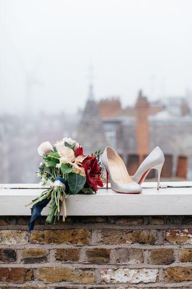 Palais Flowers Bouquet & Silver Christian Louboutin Shoes