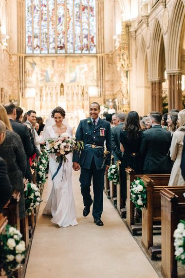 Wedding Ceremony with Bride in Charlotte Simpson Wedding Dress & Groom in Military Uniform