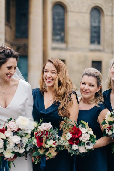 Bridesmaids in Navy Ghost Bridesmaid Dresses