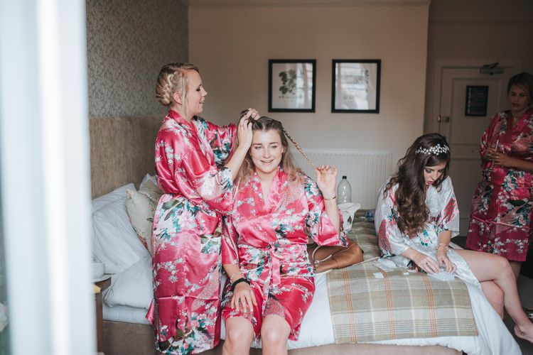 Bridesmaids Getting Ready Red Floral Robes