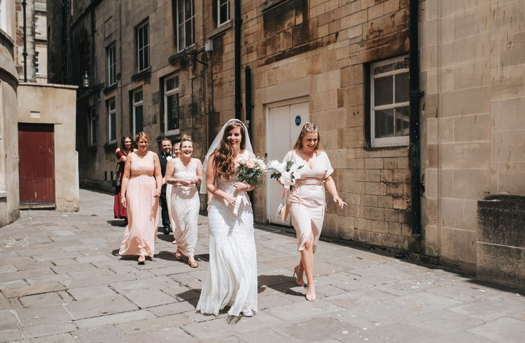 Bride In Sequin Phase Eight Wedding Dress