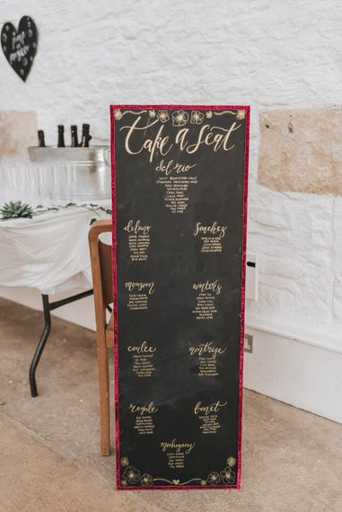Chalkboard Table Plan For Wedding
