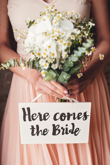 Here Comes The Bride Sign // Rustic Tipi Wedding With Handmade Details At Purbeck Valley Farmhouse With Coastal Tents Tipi And Images From Darima Frampton Photography