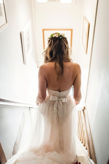 Bride In Maggie Sottero With Bow Back Detail // Rustic Tipi Wedding With Handmade Details At Purbeck Valley Farmhouse With Coastal Tents Tipi And Images From Darima Frampton Photography