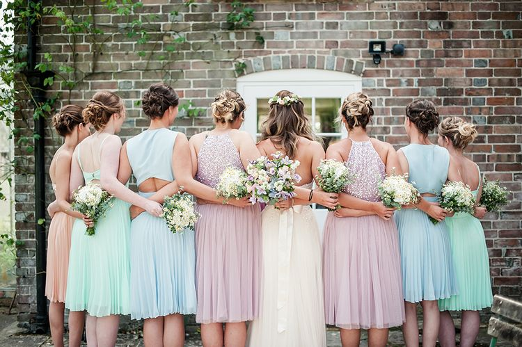 Bridesmaids In Pastel Dresses From ASOS // Rustic Tipi Wedding With Handmade Details At Purbeck Valley Farmhouse With Coastal Tents Tipi And Images From Darima Frampton Photography
