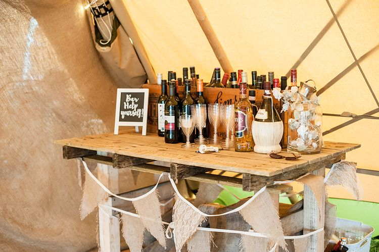 Help Yourself Wedding Bar // Rustic Tipi Wedding With Handmade Details At Purbeck Valley Farmhouse With Coastal Tents Tipi And Images From Darima Frampton Photography