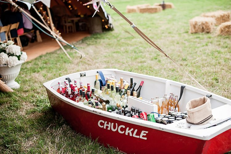 Wedding Drinks In Ice In Boat // Rustic Tipi Wedding With Handmade Details At Purbeck Valley Farmhouse With Coastal Tents Tipi And Images From Darima Frampton Photography