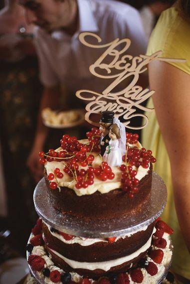 Best Day Ever Cake Topper on Homemade Wedding Cake