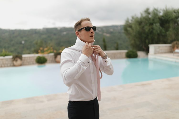 Groom in David Copperfield Suit | Romantic Pink & White French Riviera Wedding at Chateau Saint Jeannet | Sebastien Boudot Photography | Shoot Me Now Films