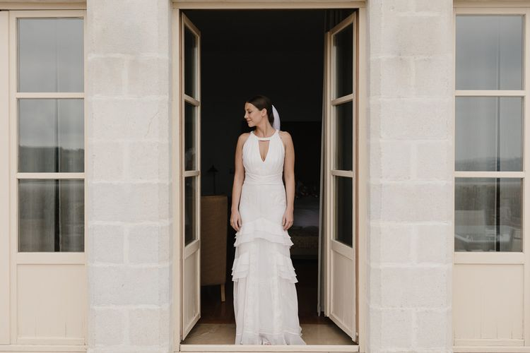 Bride in Temperley Gown | Romantic Pink & White French Riviera Wedding at Chateau Saint Jeannet | Sebastien Boudot Photography | Shoot Me Now Films
