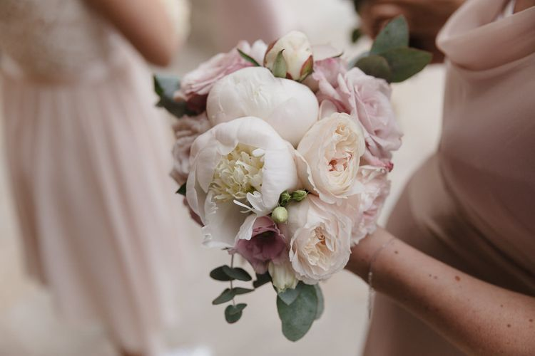 Pink & White Peony Bouquet | Romantic Pink & White French Riviera Wedding at Chateau Saint Jeannet | Sebastien Boudot Photography | Shoot Me Now Films