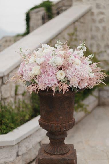 Pink & White Flower Arrangement | Romantic Pink & White French Riviera Wedding at Chateau Saint Jeannet | Sebastien Boudot Photography | Shoot Me Now Films