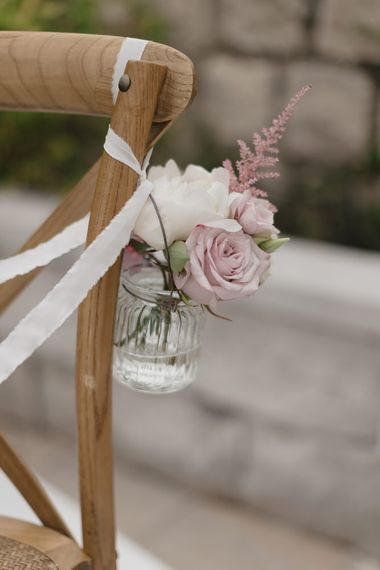 Pink & White Chair Back Flowers | Romantic Pink & White French Riviera Wedding at Chateau Saint Jeannet | Sebastien Boudot Photography | Shoot Me Now Films