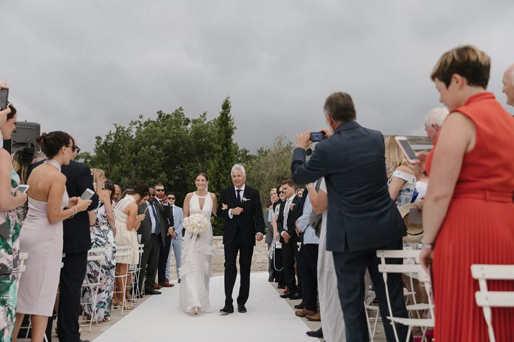 Bride in Temperley Gown | Outdoor Wedding Ceremony | Romantic Pink & White French Riviera Wedding at Chateau Saint Jeannet | Sebastien Boudot Photography | Shoot Me Now Films