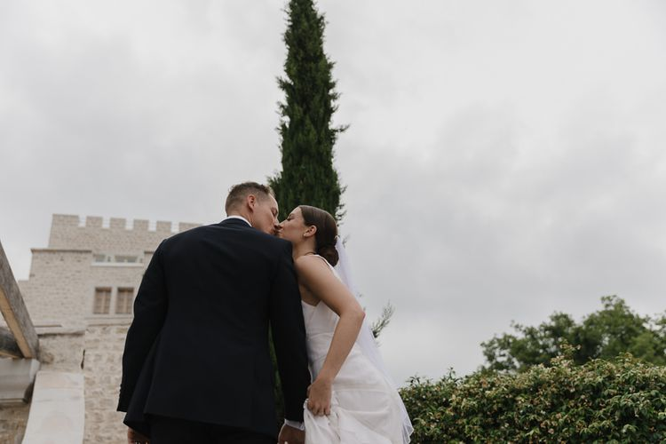 Outdoor Wedding Ceremony | Bride in Temperley Gown | Groom in David Copperfield Suit | Romantic Pink & White French Riviera Wedding at Chateau Saint Jeannet | Sebastien Boudot Photography | Shoot Me Now Films