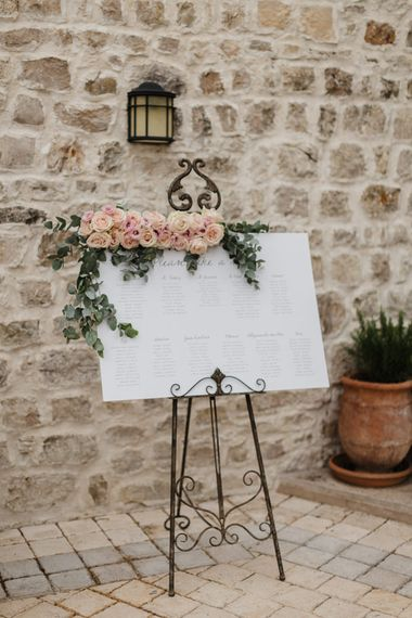 Wedding Welcome Sign with Flowers | Romantic Pink & White French Riviera Wedding at Chateau Saint Jeannet | Sebastien Boudot Photography | Shoot Me Now Films