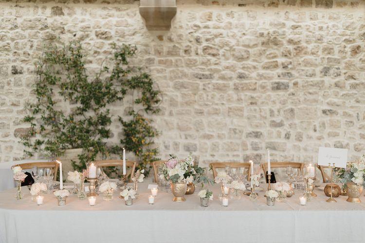 Candle Sticks & Flower Stems | Romantic Pink & White French Riviera Wedding at Chateau Saint Jeannet | Sebastien Boudot Photography | Shoot Me Now Films