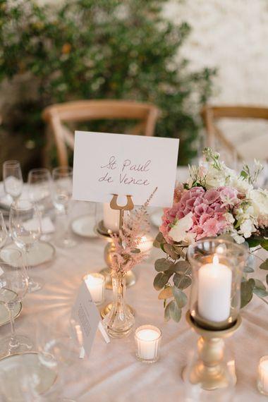 Table Centrepiece | Romantic Pink & White French Riviera Wedding at Chateau Saint Jeannet | Sebastien Boudot Photography | Shoot Me Now Films