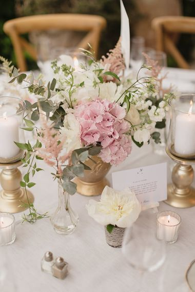 Wedding Centrepiece | Romantic Pink & White French Riviera Wedding at Chateau Saint Jeannet | Sebastien Boudot Photography | Shoot Me Now Films