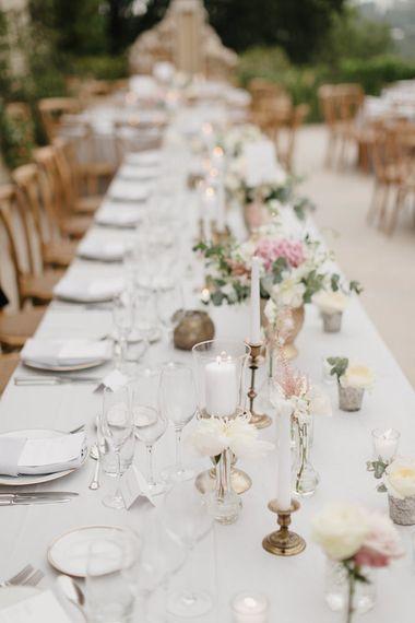 Table Decor | Romantic Pink & White French Riviera Wedding at Chateau Saint Jeannet | Sebastien Boudot Photography | Shoot Me Now Films