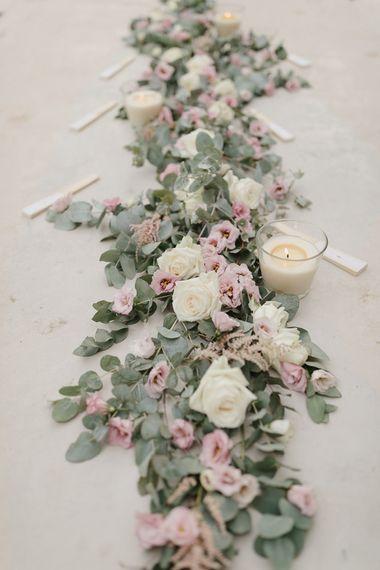 Aisle Flowers | Romantic Pink & White French Riviera Wedding at Chateau Saint Jeannet | Sebastien Boudot Photography | Shoot Me Now Films