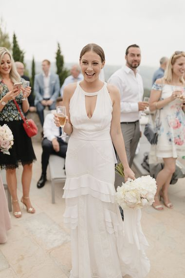 Bride in Temperley Wedding Dress | Romantic Pink & White French Riviera Wedding at Chateau Saint Jeannet | Sebastien Boudot Photography | Shoot Me Now Films