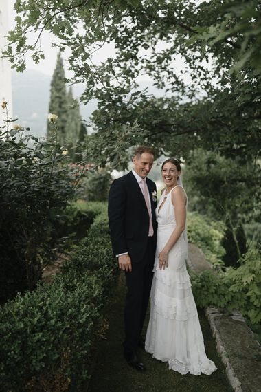 Bride in Temperley Wedding Dress | Groom in David Copperfield Suit | Romantic Pink & White French Riviera Wedding at Chateau Saint Jeannet | Sebastien Boudot Photography | Shoot Me Now Films