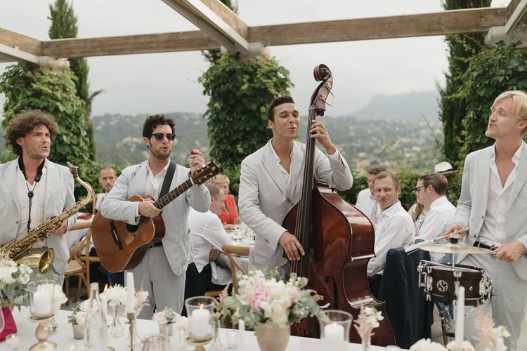 Wedding Band | Romantic Pink & White French Riviera Wedding at Chateau Saint Jeannet | Sebastien Boudot Photography | Shoot Me Now Films