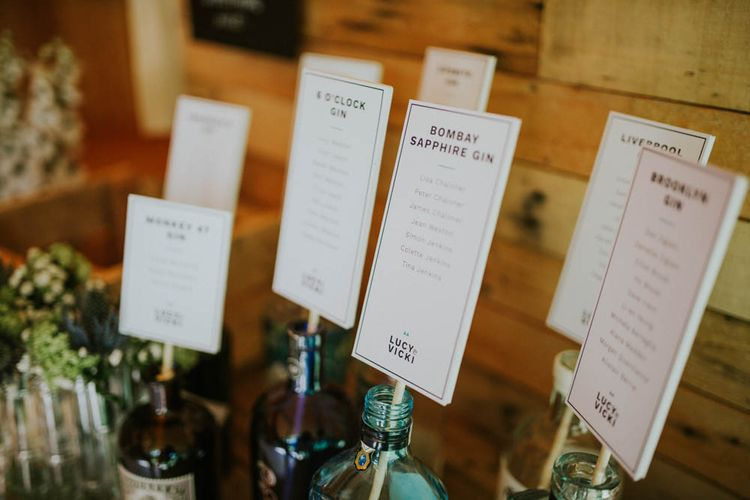 Gin Bottle Table Plan | Rustic Tipi Wedding at The Grange, Belluton, Pensford | Images by Felix Russell-Saw & Ryan Winterbotham