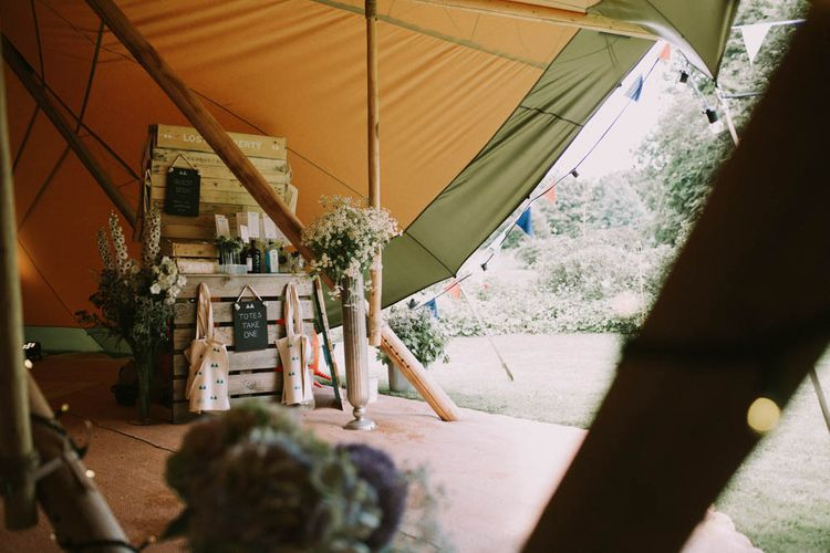 Wooden Palette Wedding Decor | Rustic Tipi Wedding at The Grange, Belluton, Pensford | Images by Felix Russell-Saw & Ryan Winterbotham