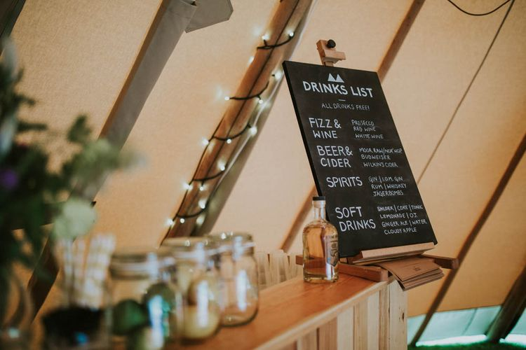 Chalkboard Bar Sign | Rustic Tipi Wedding at The Grange, Belluton, Pensford | Images by Felix Russell-Saw & Ryan Winterbotham