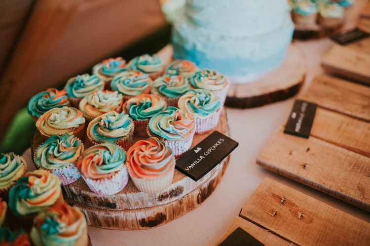 Cupcakes | Rustic Tipi Wedding at The Grange, Belluton, Pensford | Images by Felix Russell-Saw & Ryan Winterbotham