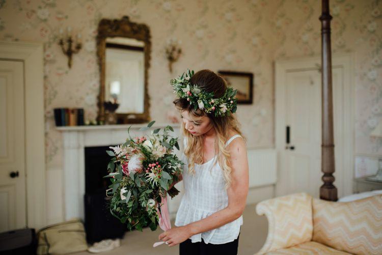 Bridal Preparations | Protea Bouquet & Flower Crown | The Lou's Photography