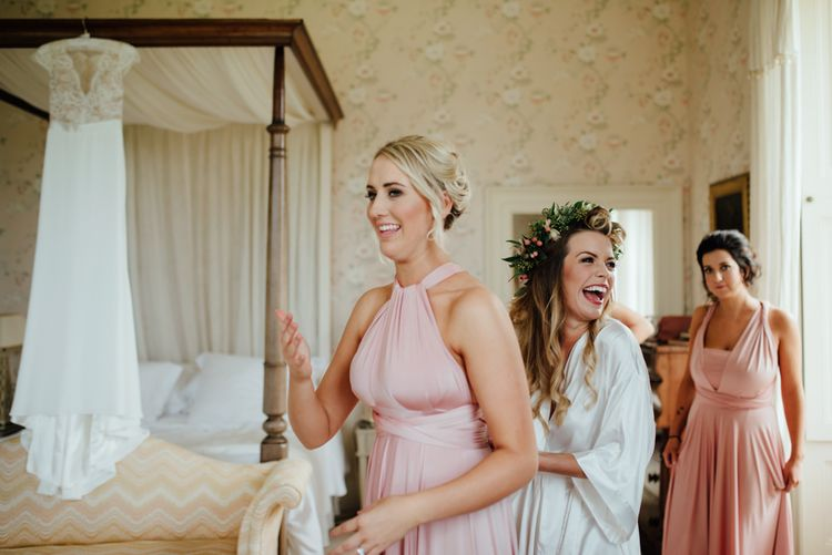 Bridal Preparations | Bridesmaid in Pink Multiway Towbirds Dress | The Lou's Photography