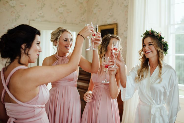 Getting Ready | Bride & Bridesmaids in Pink Twobirds Dresses | The Lou's Photography