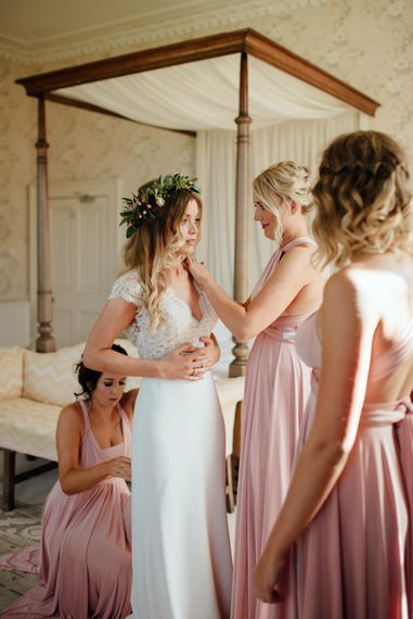 Getting Ready | Bride in Bespoke Suzanne Neville Scarlett Bridal Gown & Bridesmaids in Pink Twobirds Dresses | The Lou's Photography