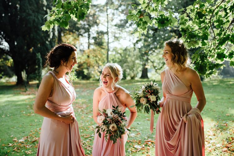 Bridesmaids in Pink Twobirds Dresses | The Lou's Photography