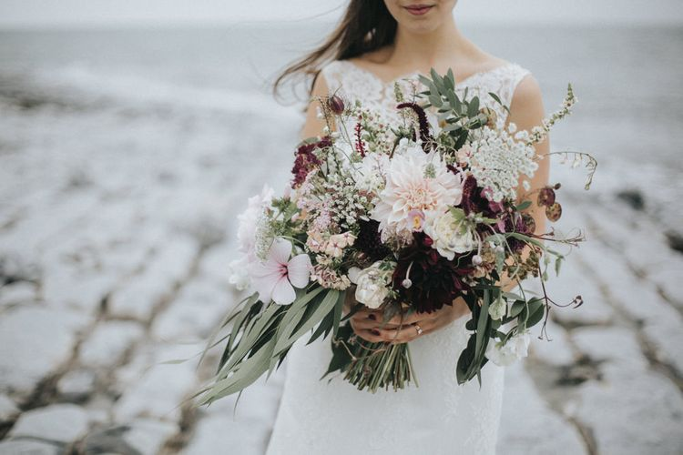 Blush Pink & Burgundy Bridal Bouquet   Bride in Augusta Jones Sophia Gown   Groom in Slaters Suit   Country Wedding at Farmers Barns, Rosedew Farm, Cardiff   Grace Elizabeth Photography and Film
