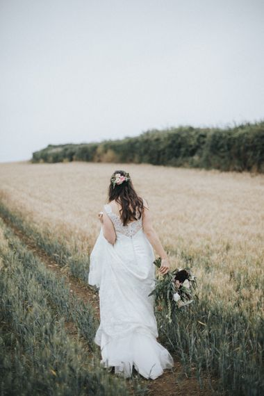 Bride in Augusta Jones Sophia Gown   Country Wedding at Farmers Barns, Rosedew Farm, Cardiff   Grace Elizabeth Photography and Film