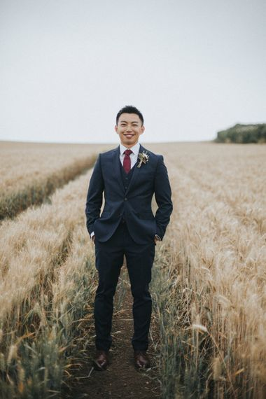Groom in Slaters Suit   Country Wedding at Farmers Barns, Rosedew Farm, Cardiff   Grace Elizabeth Photography and Film