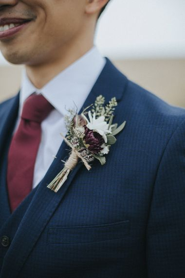 Buttonhole   Groom in Slaters Suit   Country Wedding at Farmers Barns, Rosedew Farm, Cardiff   Grace Elizabeth Photography and Film