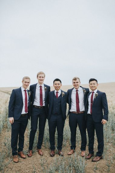 Groomsmen in Slaters Suits   Country Wedding at Farmers Barns, Rosedew Farm, Cardiff   Grace Elizabeth Photography and Film