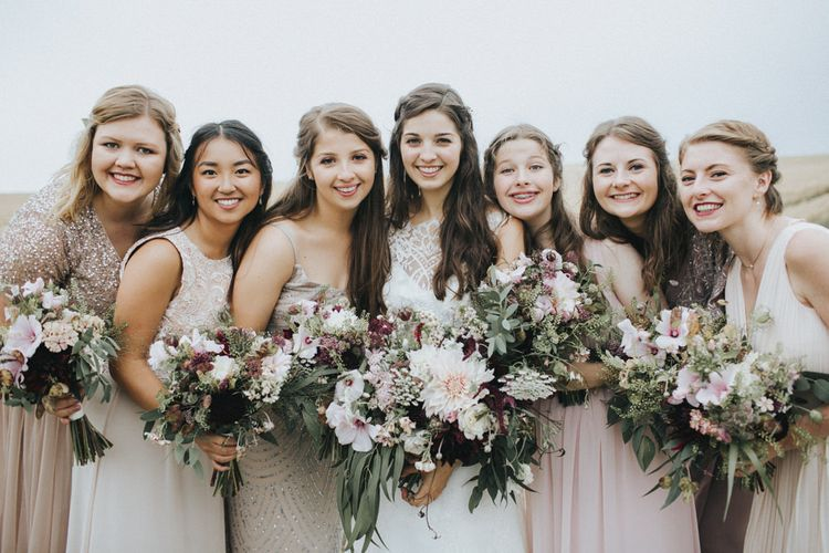 Bridesmaids in Different Blush Pink Dresses   Bride in Augusta Jones Sophia Gown   Country Wedding at Farmers Barns, Rosedew Farm, Cardiff   Grace Elizabeth Photography and Film