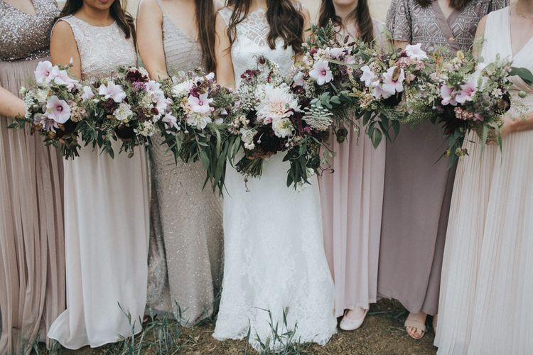 Blush Pink & Burgundy Bouquets   Bridesmaids in Different Blush Pink Dresses   Bride in Augusta Jones Sophia Gown   Country Wedding at Farmers Barns, Rosedew Farm, Cardiff   Grace Elizabeth Photography and Film