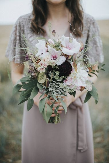 Blush Pink & Burgundy Bouquet   Bridesmaid in Nude Dress   Country Wedding at Farmers Barns, Rosedew Farm, Cardiff   Grace Elizabeth Photography and Film