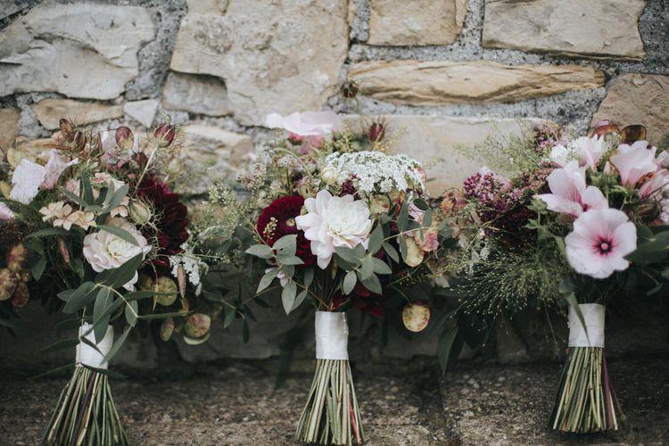 Blush & Burgundy Bouquets   Country Wedding at Farmers Barns, Rosedew Farm, Cardiff   Grace Elizabeth Photography and Film