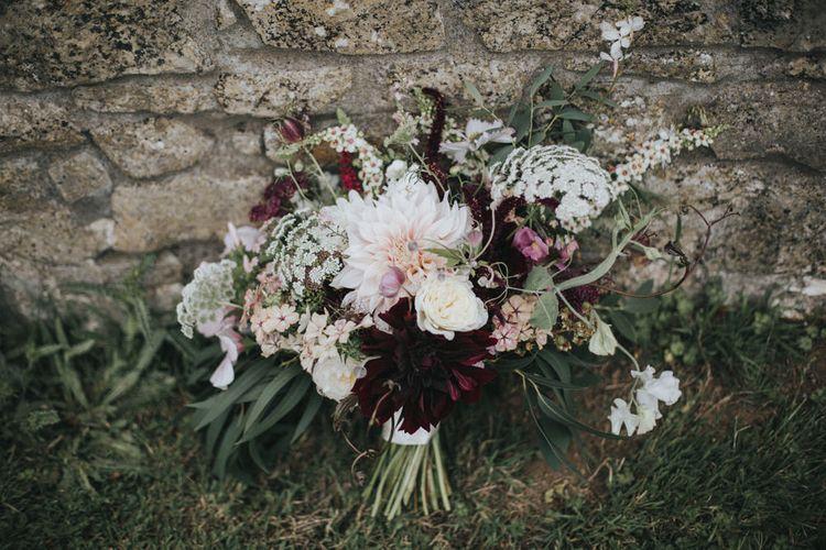Blush & Burgundy Bridal Bouquet   Country Wedding at Farmers Barns, Rosedew Farm, Cardiff   Grace Elizabeth Photography and Film