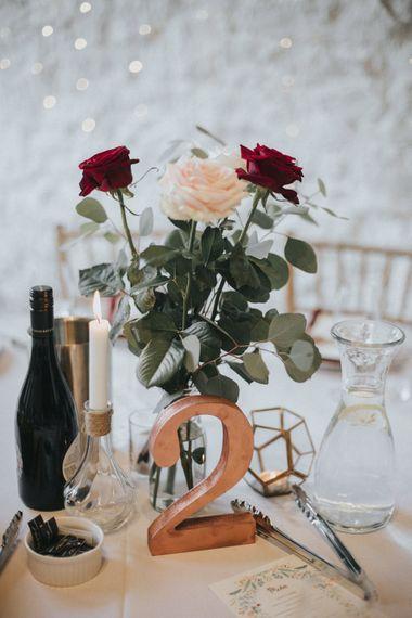 Flower Stems in Jars Wedding Centrepieces   Country Wedding at Farmers Barns, Rosedew Farm, Cardiff   Grace Elizabeth Photography and Film