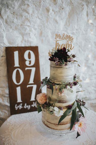 Semi Naked Wedding Cake   Country Wedding at Farmers Barns, Rosedew Farm, Cardiff   Grace Elizabeth Photography and Film