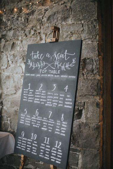 Blackboard Seating Chart   Country Wedding at Farmers Barns, Rosedew Farm, Cardiff   Grace Elizabeth Photography and Film